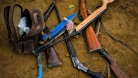 Confiscated weapons from illegal loggers