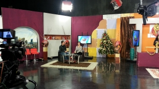 Krisstian de Lara behind the scenes during a television interview promoting Sub Rosa in December