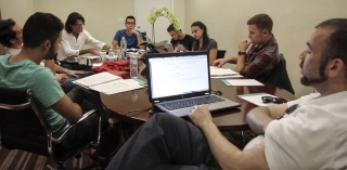 Krisstian de Lara at Investigation 13's table read with cast