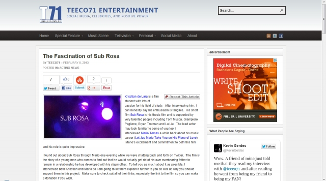 Sub Rosa Featured in Teeco71 Entertainment