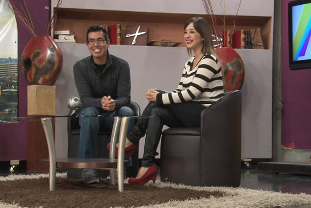 Krisstian de Lara on set of 'El Tijerazo' show with Stella 'China' Garcia