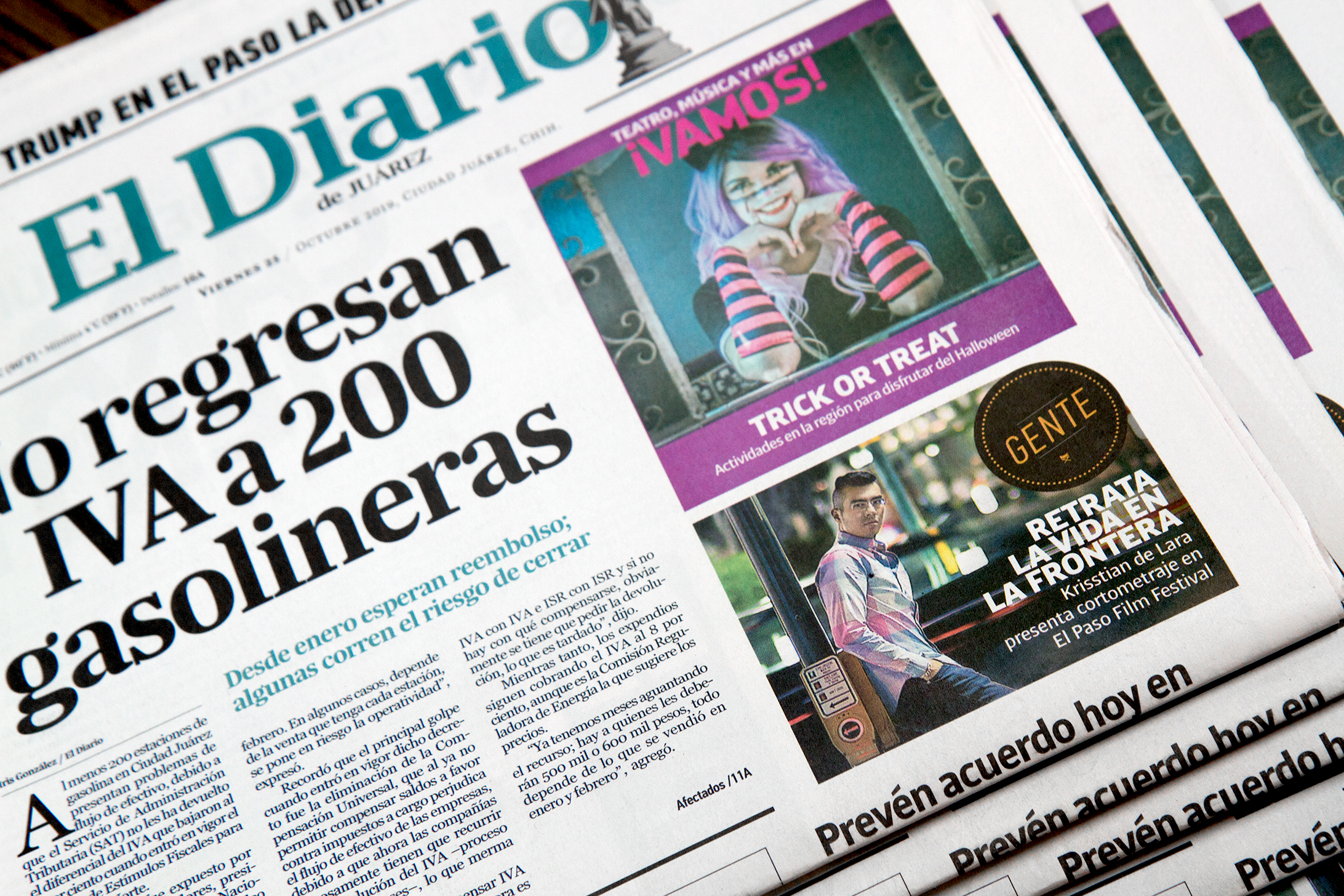 Krisstian de Lara gets featured on El Diario de Juarez' front page